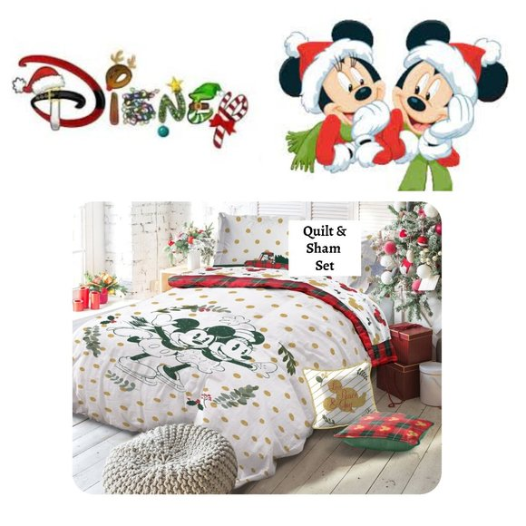 DISNEY Mickey & Minnie Mouse QUEEN QUILT SHAMS 3PC